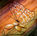Watercolor painting on canvas of a butterfly