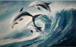 Watercolor painting of Dolphins playing in ocean waves