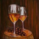 Painting of wine glasses and grapes on table