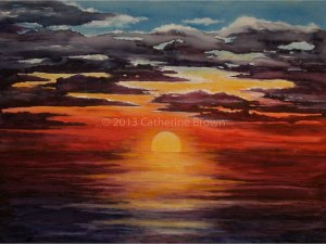 Painting of an ocean sunset